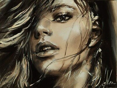 DELICATE Original Painting on canvas signed Evea sensual woman