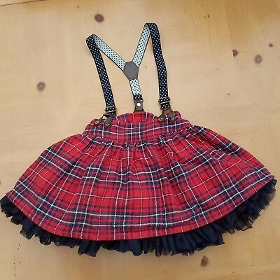 NEXT Girl's Red Tartan Christmas Braces Skirt Size 18 to 24 Months