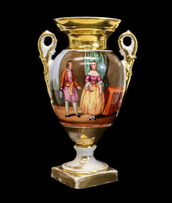 Continental Hand Painted Porcelain Double Handled Urn, c.1940. Courting Scene