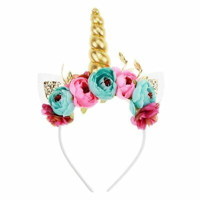 Unicorn Horn Headband, Aiernuo Photo Props Gold Cat Ears Flowers Unicorn for