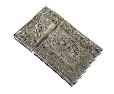 Indian Silver Filagree Card Holder Case, circa 1920. Floral Accents