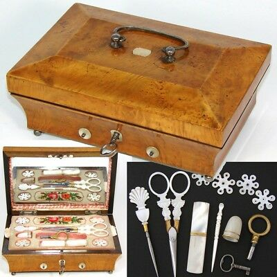Antique c. 1800s French Sewing Box, Implements with 12-14k Gold, Palais Royal