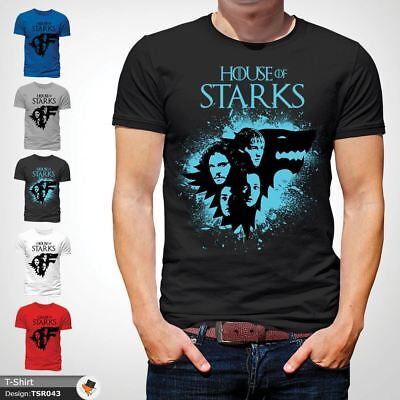 Game Of Thrones TShirt Stark House Crest winter is coming Xmas Tshirt Black