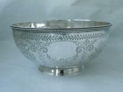 Pretty Hand-Engraved Antique Solid Sterling Silver Bowl 1876/ Dia 13.8 cm/ 182g