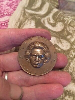 Old Bronze BEETHOVEN Medal/coin .. Big And Heavy, Quite Rare