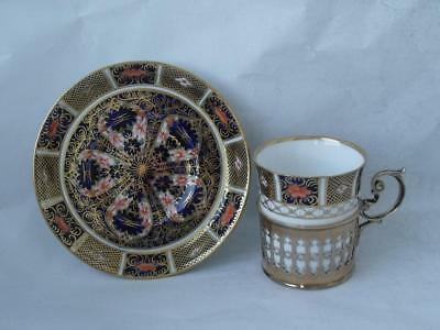 Very Nice Crown Derby & Sterling Silver Gilt Coffee Cup & Saucer c. 1926