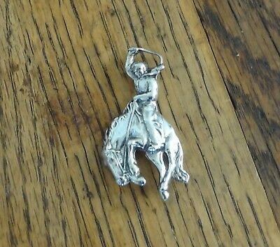 Vintage Sterling Silver Cowboy with Bucking Horse Pin