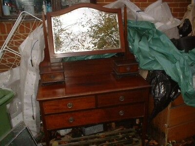 Antique Dressing Table With Swivel Mirror, 2 Small Drawers , 3 Other Drawers,