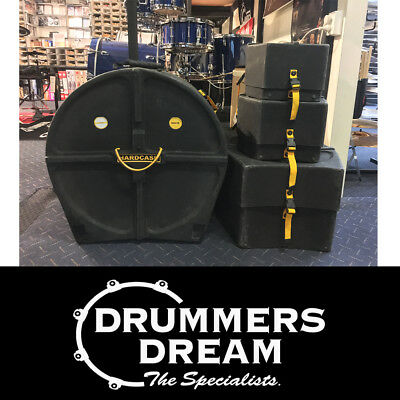 "PRE OWNED HARDCASE 4pc Drum Case Set Pack - ROCK  Sizes 10"" 12"" 16"" 22"""