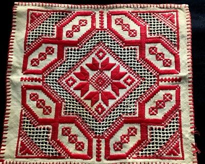 """Antique Hungarian Hand Embroidery in Red Gorgeous Doily 10 1/2"""" x 9 3/4"""""""
