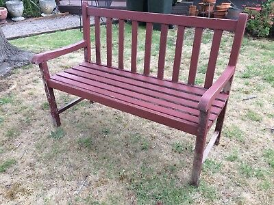 Vintage Teak Garden Bench In Strong Sturdy Condition Length 122 cm