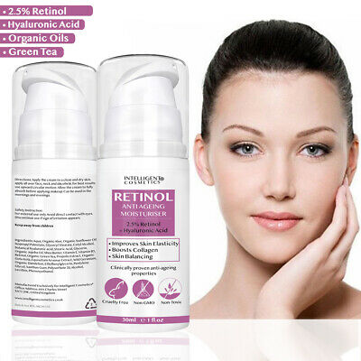 Retinol 2.5% Face Cream Anti Ageing Wrinkles with Hyaluronic Acid Vitamin E NEW