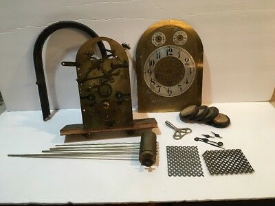 Vintage Junghans German Clock Movement Westminister Chimes, Plus Extras c.1910