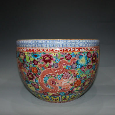 Chinese Exquisite Hand-painted Color painting Dragon pattern porcelain pot