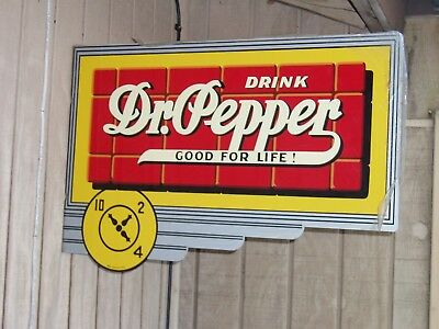 Dr. Pepper 2-Sided Wall Mount Art Deco Metal Sign! - NOS
