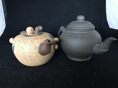 Chinese Antique Vintage Reproduction Zisha Tea Pot ( 2 Pieces)