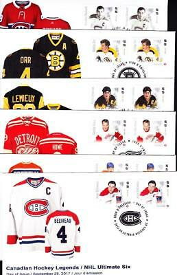 Canada FDC 2017 NHL Legends combination singles, set of 6, rare limited edition