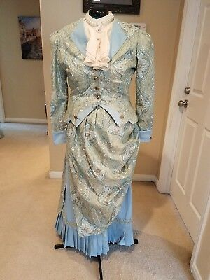 Victorian bustle dress in robin egg blue and floral