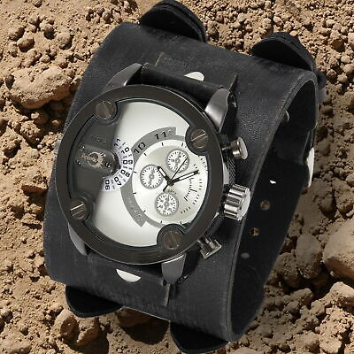 APHOTIC Tungsten Carbon Black Dual Time Steampunk Men Watch Cowhide Leather Band