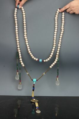 Chinese Exquisite Hand-carved pearl necklace / 'Chao Zhu'