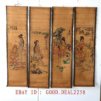 A set of 4 Pieces,Old  Collection Scroll Chinese Painting/Beauty & Tiger ZH2002