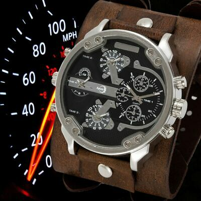 APHOTIC 4 Time Zones Steampunk Watch Vintage Brown Real Leather Strap Waterproof