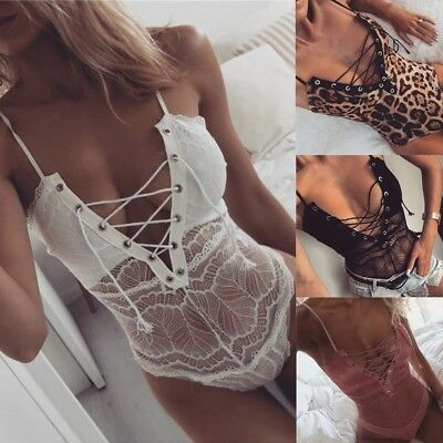 AU Womens Full Lace Strappy Plunge V Neck Bodycon Leotard Tops Lingerie Bodysuit