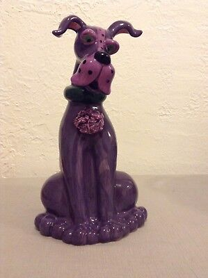 New Blue Sky Clayworks Purple Great Dane Dog Teapot Figurine Lynda Corneille