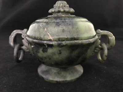 Chinese Antique  Vintage Reproduction Spinach Jade Cover Vase