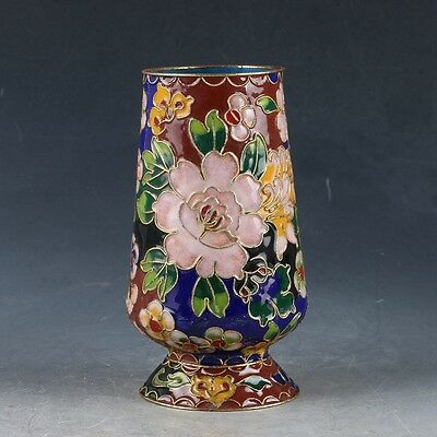 Chinese Cloisonne Handwork Carved Flowers Pen Holder EP0322
