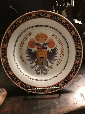 Chinese Export Antique AUSTRIAN COAT OF ARMS PLATE Archid Avst Dux Burc Co. 1820