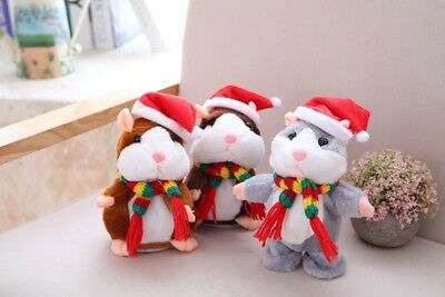 Xmas Talking Hamster Plush Kids Toy Cute Mimicry Speak Record Chat Mouse Pet US