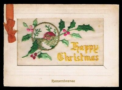 WW1 • Remembrance / Christmas • Embroidered Silk Greetings Card