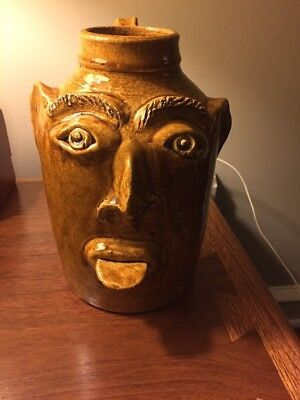 Great Large face jug with old Saying, Glaze R. Anderson