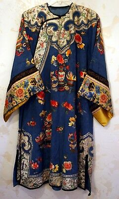 Lovely Quality Antique Qing Dynasty Chinese Embroidered Blue Silk Woman's Robe