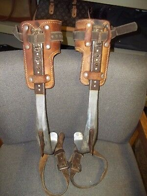 Pair Of W M Bashlin Co Climbing Spikes 30-D And Includes A Small Harness