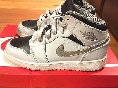 2016 Youth Nike Air Jordan 1 Pure Platinum Silver Black Size 6Y Used Rare NDS