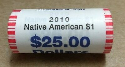 "2010 Sacagawea ""Unopened"" ""Bank Wrapped"" U.S. Mint Dollar 25 Coin ROLL"