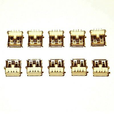 10x USB Type A Female Ports  -  PCB Surface Mount SMT