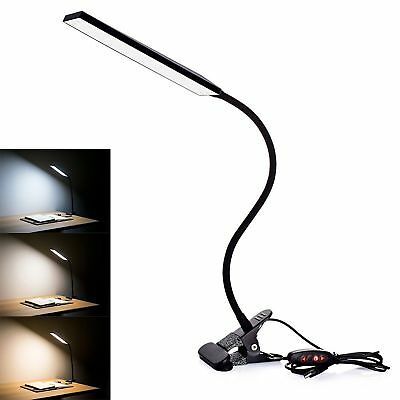 Clip-On Lamp USB Gooseneck Desk Bedside Reading Book Lamp LED Dimmable Light