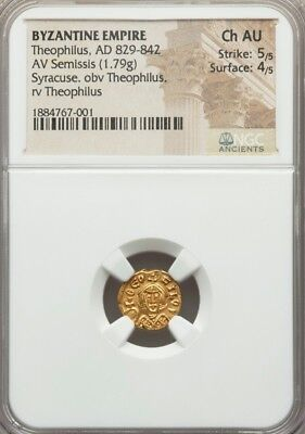 Byzantine Empire Theophilus AV Semissis NGC Choice AU 5/4 amcient gold coin