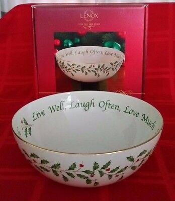 NIB Lenox Christmas Holiday serving Bowl live well, laugh often love much