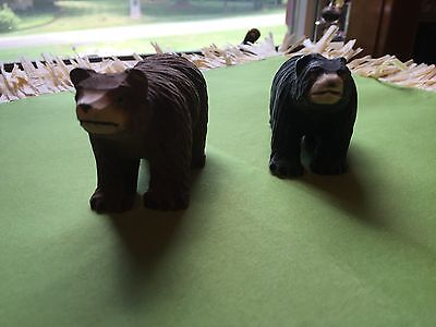 Vintage Pair of Wood Hand Carved Brown and Black Bear Figures Signed Cody WY USA
