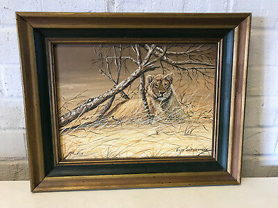 Vintage 1976 Lee Schuermann Oil on Board Painting of Lion in the Wild