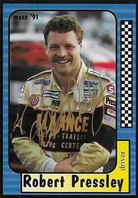 Robert Pressley Autographed 1991 Maxx Racing Nascar Photo Trading Card #147