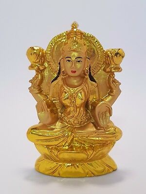 "Lakshmi Goddess Gold Finish Statue ""Wealth & Beauty"" 90mm (Post or Local Pickup)"