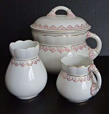 Antique 19 C Chamber Pot Lid Pitcher Vase White Pink Porcelain Ceramic Set RARE!