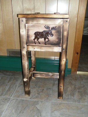northwoods moose endtable table nightstand bear wolf end table  made in Maine