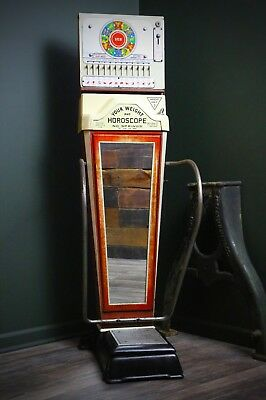 Vintage Watling Weight & Fortune Penny Scale - Coin Operated Machine w/ Key RARE