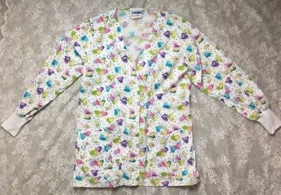 women's landau lab jacket size M heart print long sleeve button down made USA!